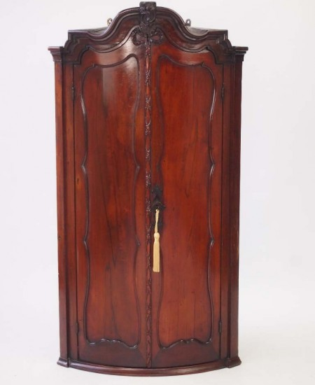 Mid 18th Century Dutch Bow Front Corner Cupboard