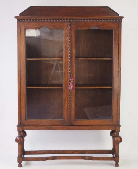 Slim Edwardian Oak Bookcase