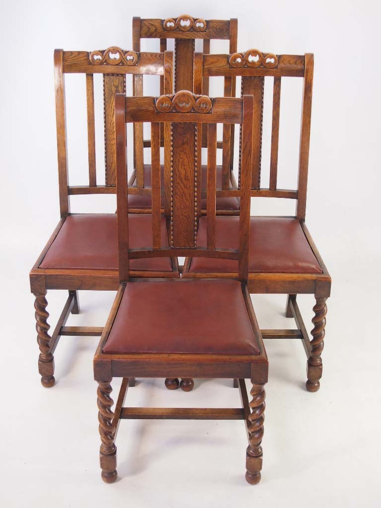 Set vintage oak dining chairs circa s
