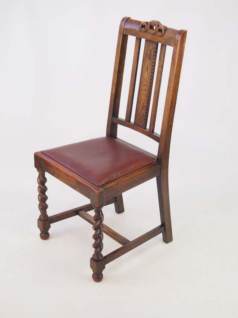 Set 4 Vintage Oak Dining Chairs Circa 1920s