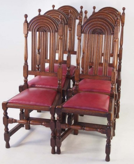 Set 6 Antique Liberty & Co Lochlevan Oak Chairs