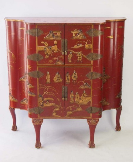 Red Chinoiserie Cabinet