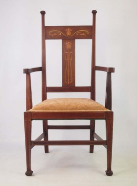Arts Crafts Mahogany Inlaid Chair