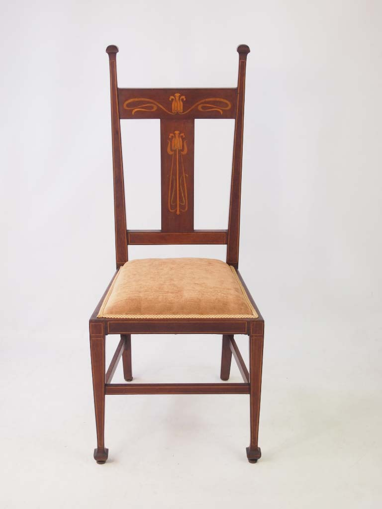 edwardian arts crafts side chair mahogany inlaid desk bedroom chair