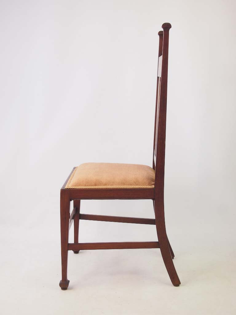 Antique Edwardian Arts Crafts Side Chair Mahogany Inlaid Desk Bedroom