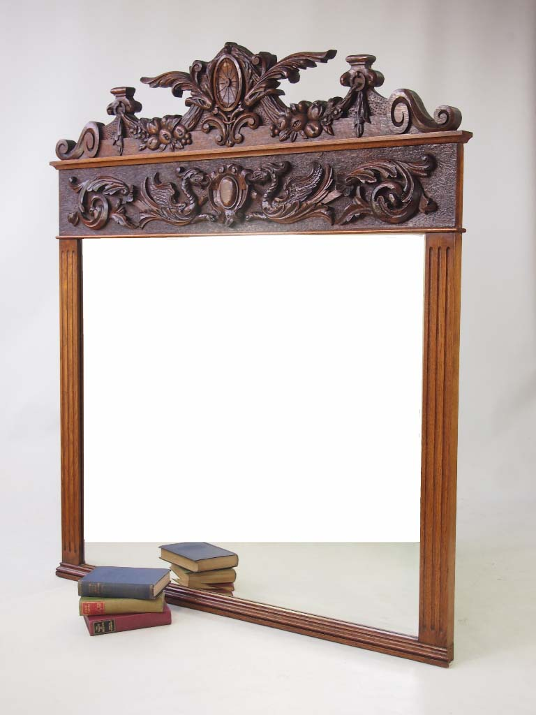 Large antique victorian carved oak overmantle mirror for Victorian mirror