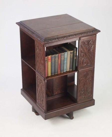 Antique Arts Crafts Oak Revolving Bookcase