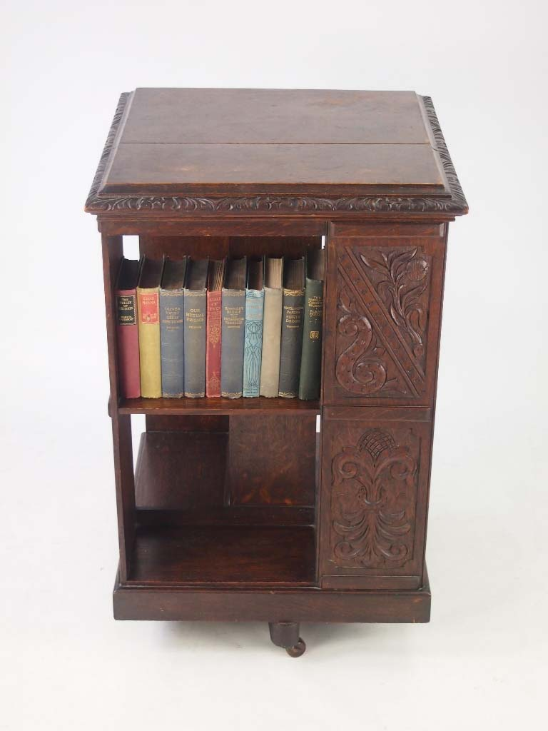 Antique arts crafts oak revolving bookcase for Read your bookcase buy