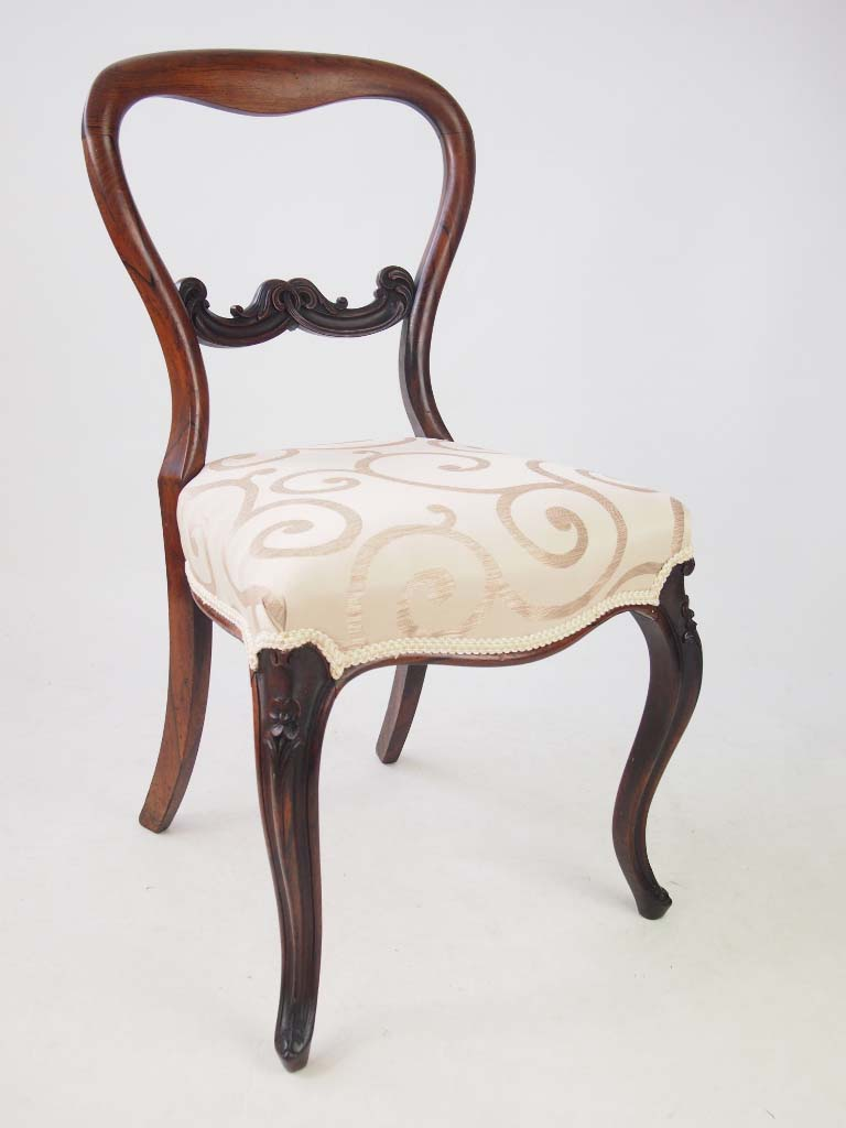 ... Set 4 Victorian Rosewood Balloon Back Chairs ...