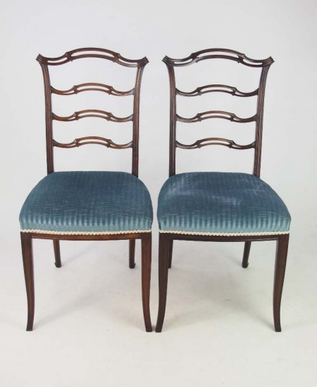 Pair Edwardian Mahogany Side Chairs