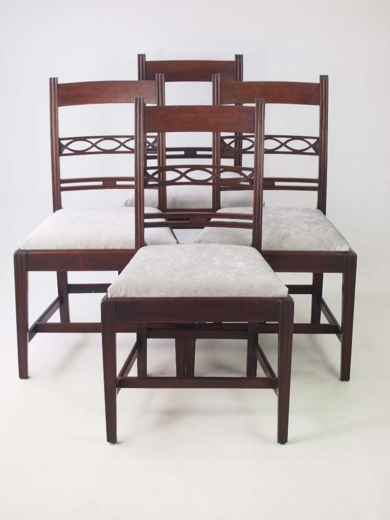 Set 4 antique georgian mahogany dining chairs for Direct furniture