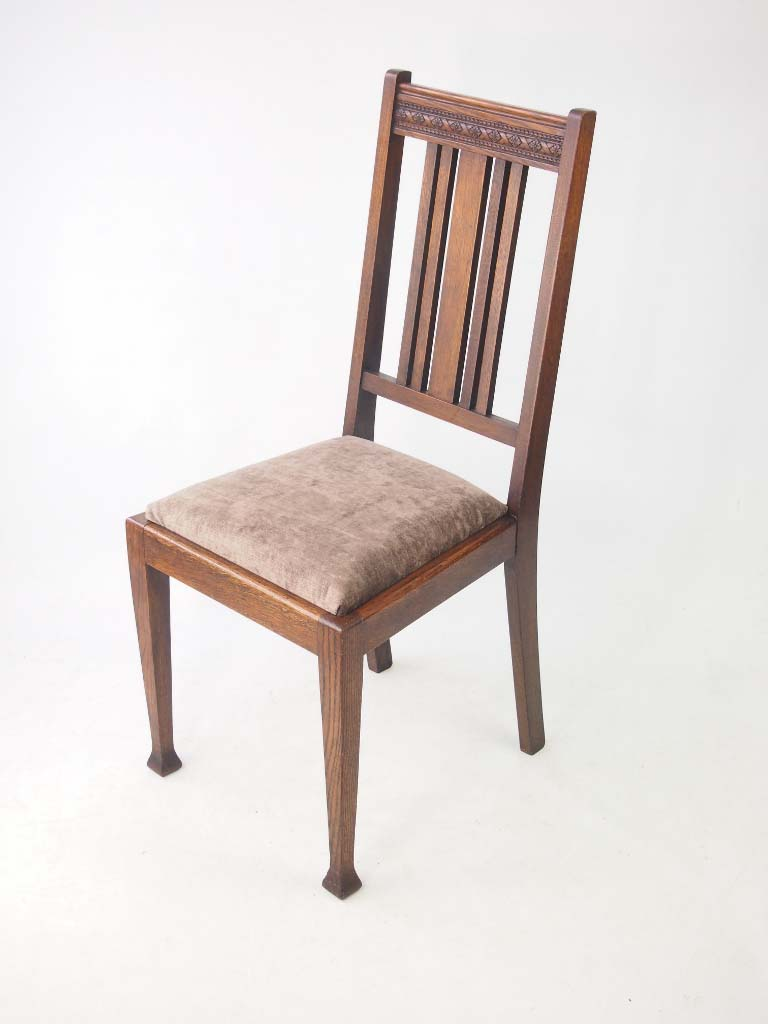 Set 4 edwardian oak dining chairs for Direct furniture