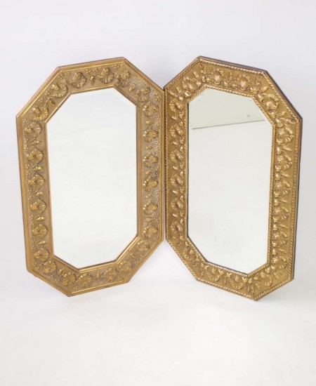Near Pair Pressed Brass Mirrors