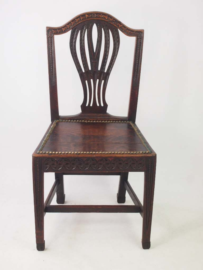 Th century oak chair carved with cats