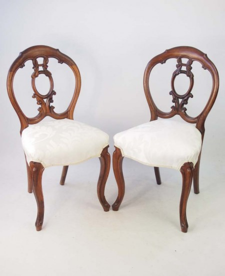 Pair Antique Rosewood Balloon Back Chairs