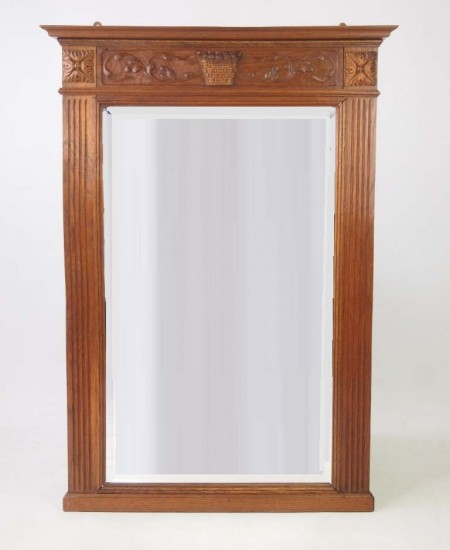 Edwardian Oak Framed Wall Mirror