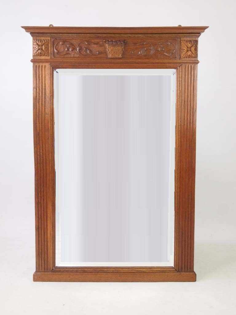 Large vintage oak framed wall mirror for Large framed wall mirrors