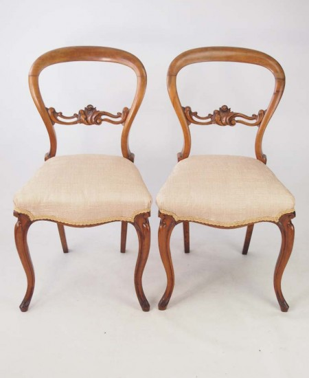 Antique Pair Walnut Balloon Back Chairs