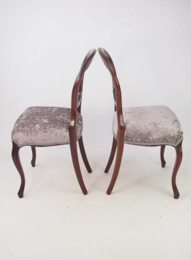 Pair Victorian Mahogany Balloon Back Chairs