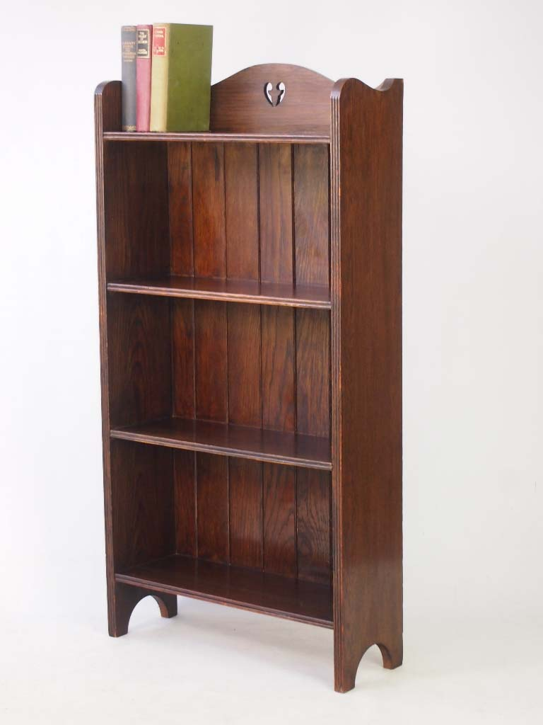 Edwardian arts crafts oak open bookcase for Arts and crafts bookshelf