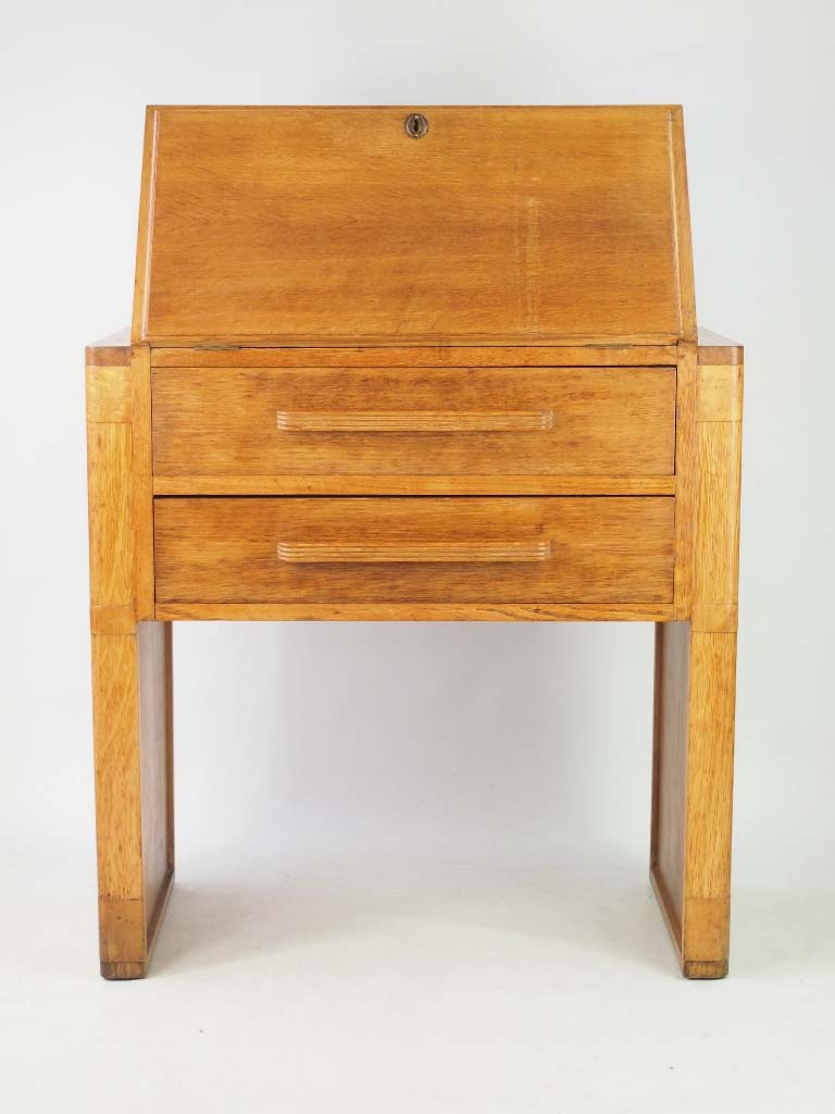 Small art deco oak bureau for Deco bureau