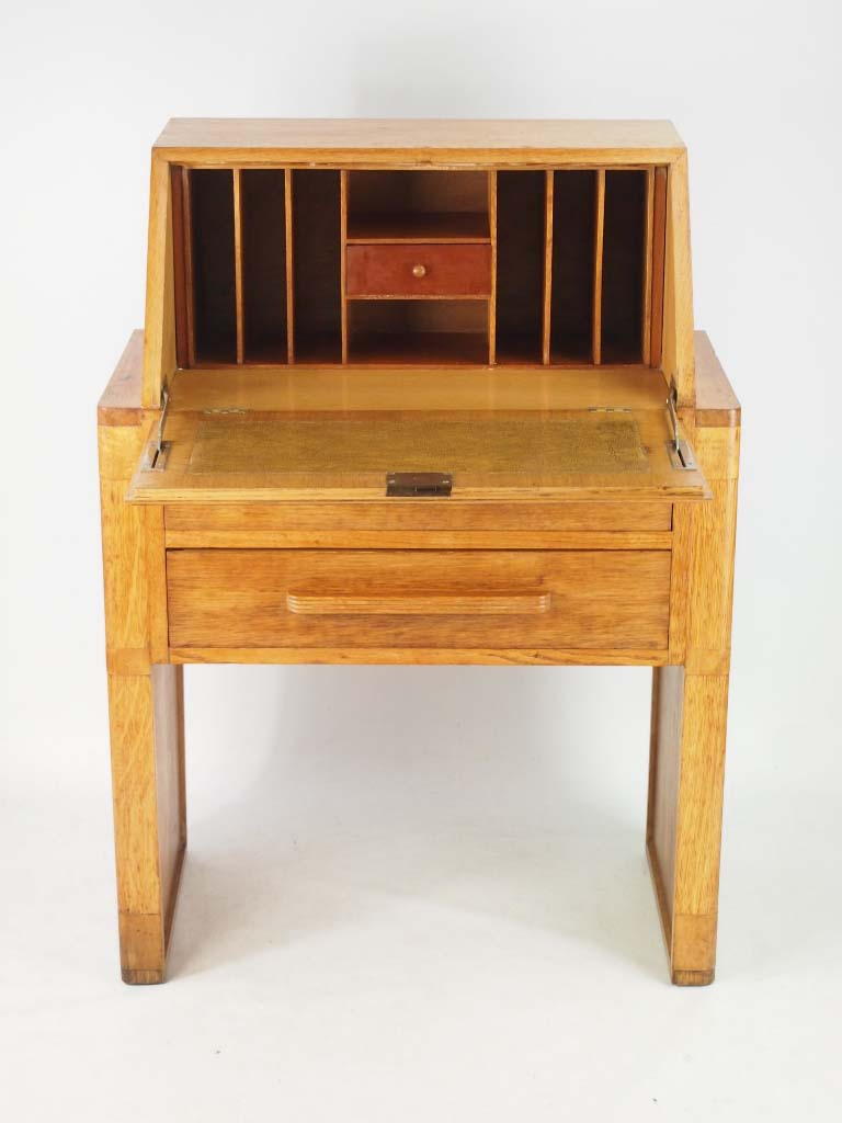 small art deco oak bureau. Black Bedroom Furniture Sets. Home Design Ideas