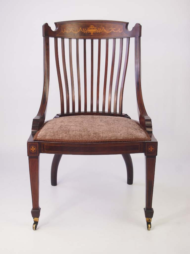 Chair Dressing Table ~ Victorian inlaid mahogany tub chair dressing table