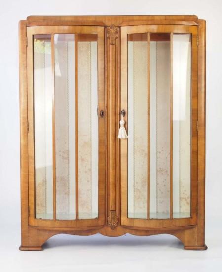 Art Deco Walnut Display Cabinet