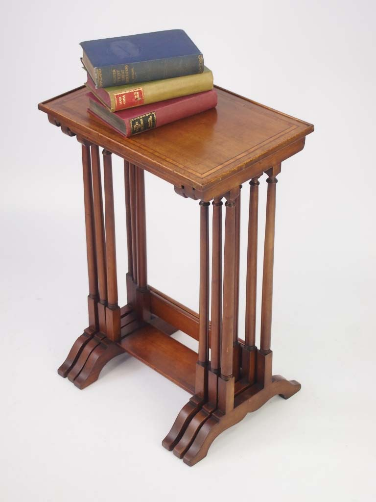 Small edwardian inlaid mahogany nest of tables for Furniture direct
