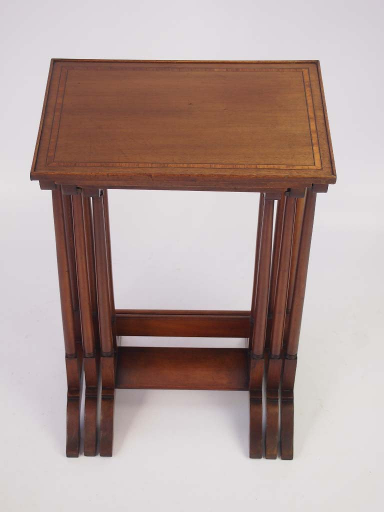 Small edwardian inlaid mahogany nest of tables for Small nest of tables