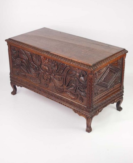 Edwardian Carved Oak Coffer