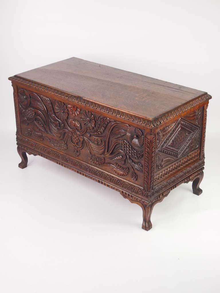 Edwardian carved oak blanket chest coffer