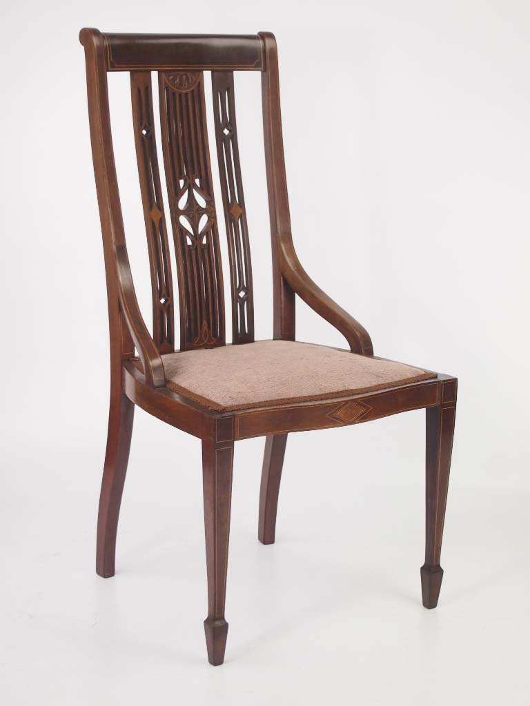 Dressing Table Chairs And Stools: Edwardian Mahogany & Inlaid Dressing Table Chair