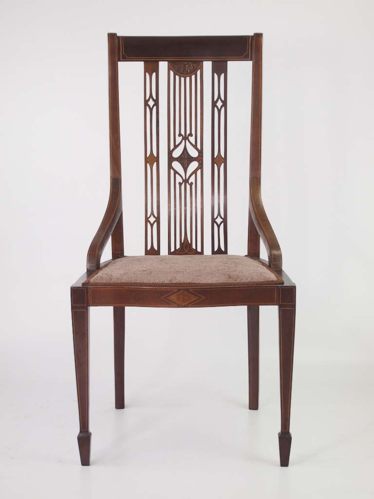 Edwardian mahogany inlaid dressing table chair