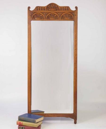 Vintage Rectangular Oak Wall Mirror