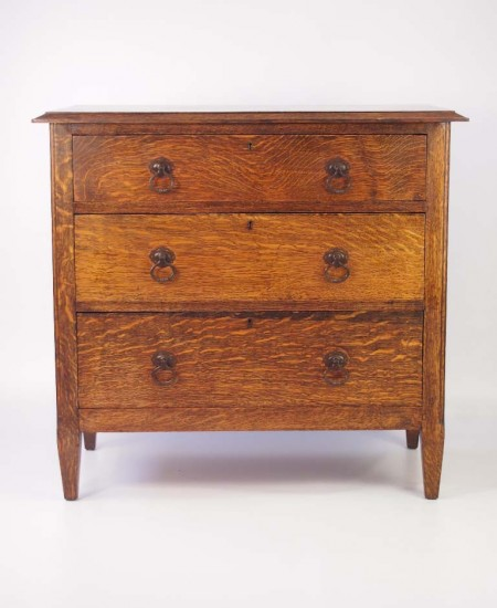 Small Edwardian Arts & Crafts Oak Chest Drawers