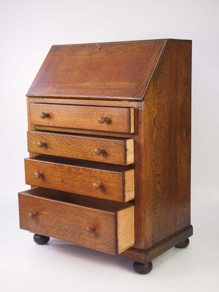 small vintage oak bureau. Black Bedroom Furniture Sets. Home Design Ideas