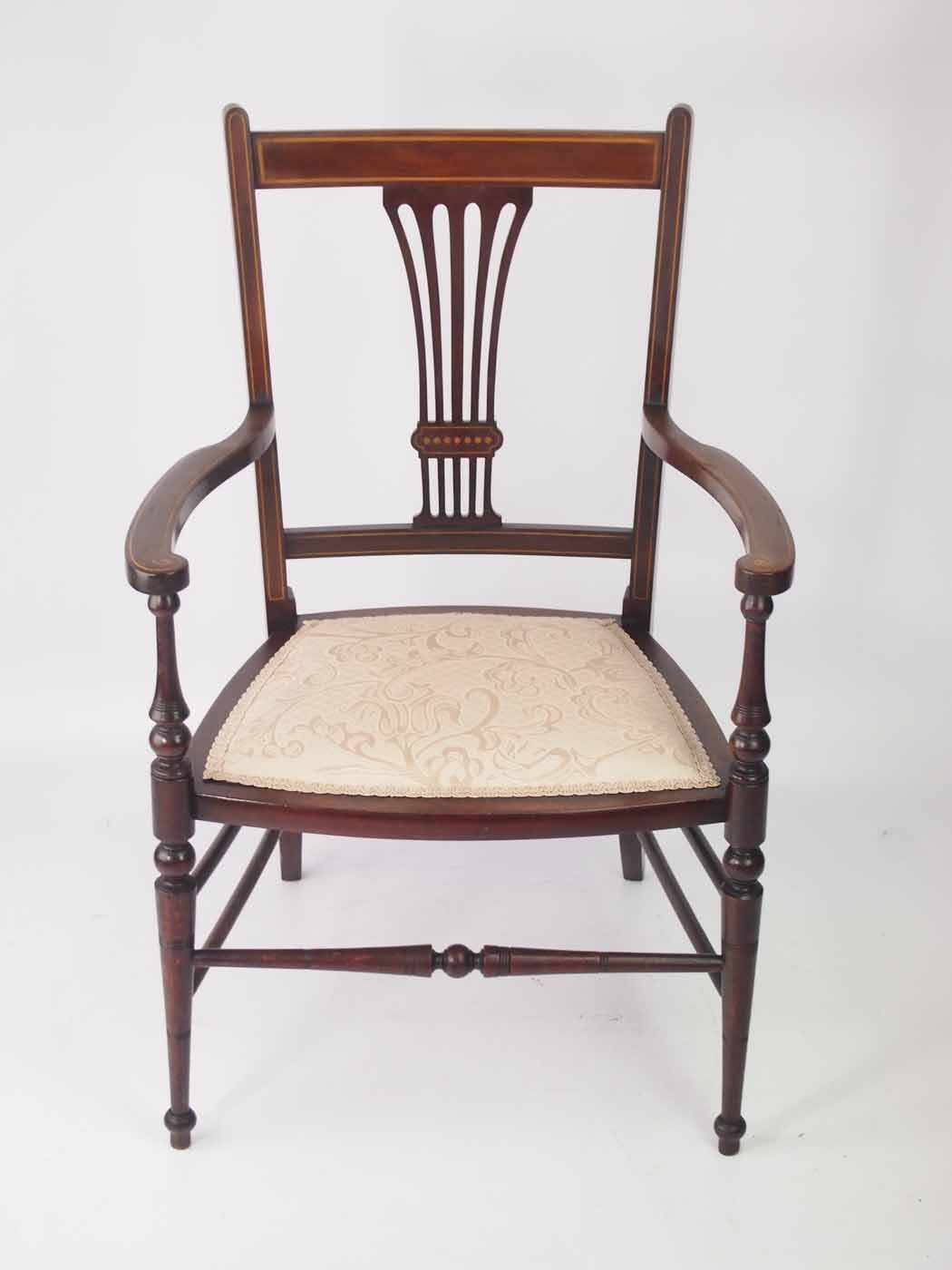 Small Edwardian Open Armchair Bedroom Chair
