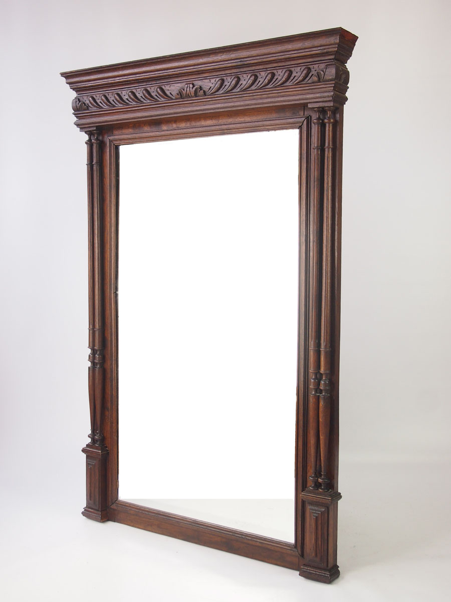 Large antique french oak mirror overmantle for French mirror