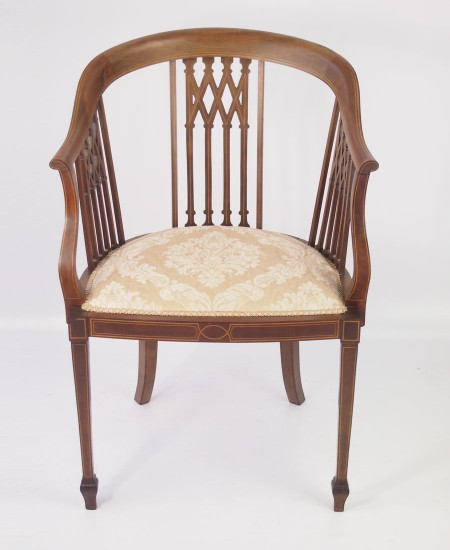 Mahogany Inlaid Edwardian Tub Chair