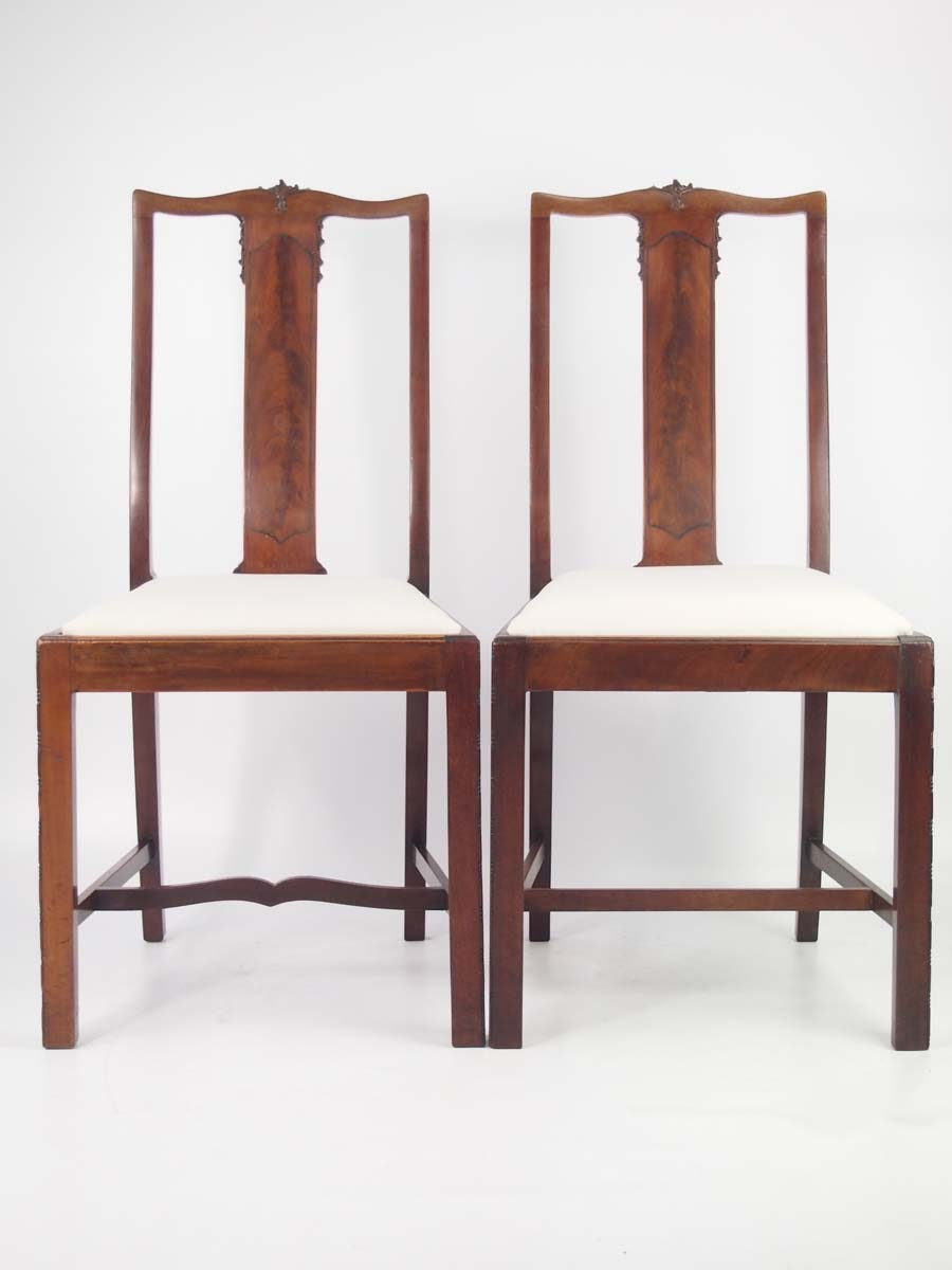 Pair antique edwardian mahogany side chairs for Furniture direct