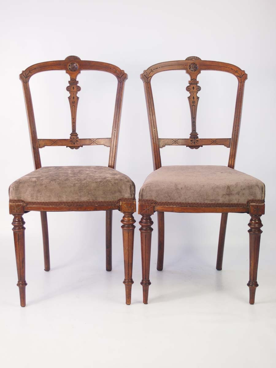 Pair Antique Victorian Walnut Balloon Back Chairs Vintage Bedroom Dining Chair Ebay