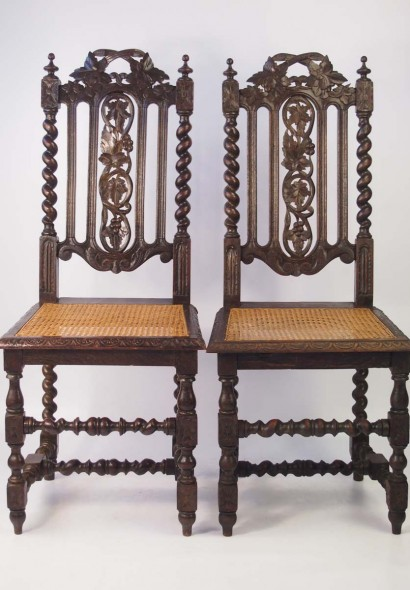 Pair Victorian Gothic Revival Oak Chairs
