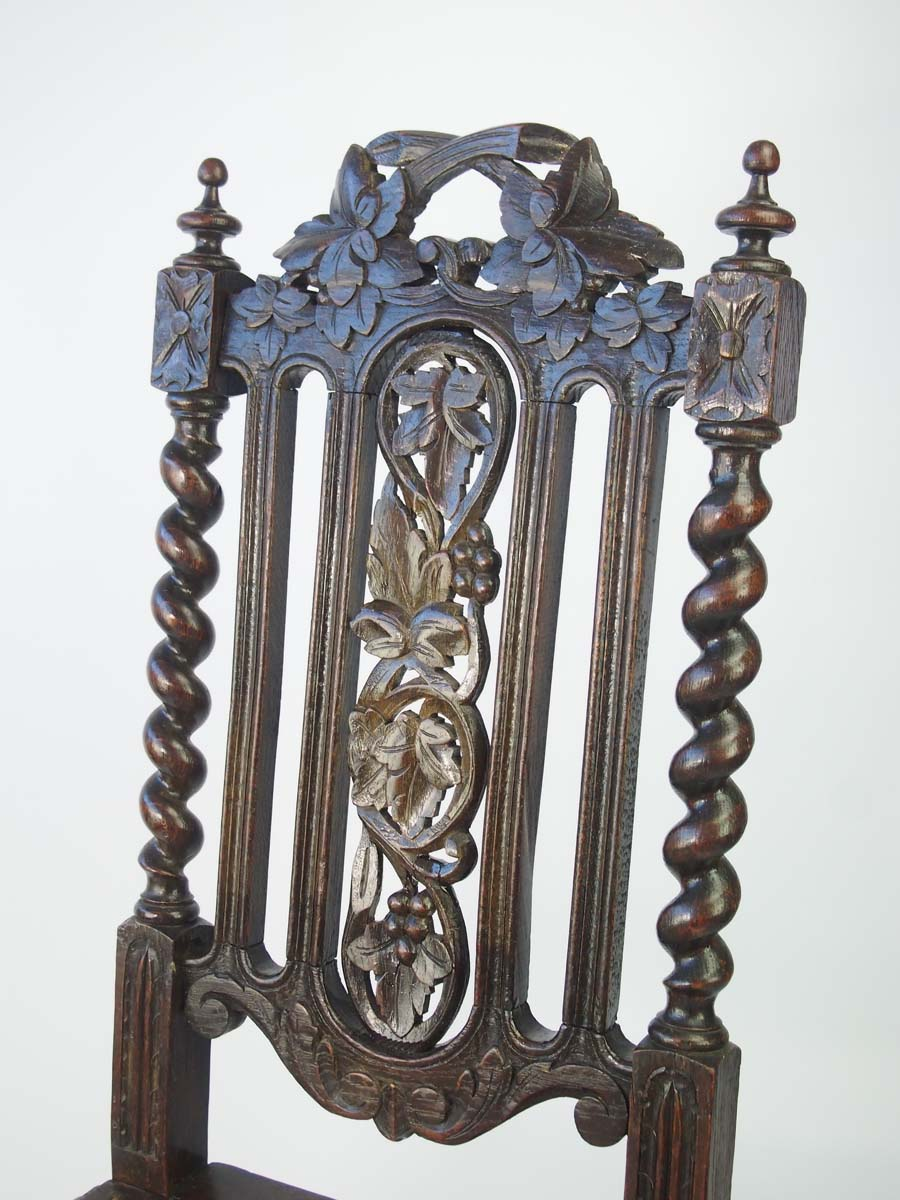 Pair victorian gothic revival oak chairs for Victorian gothic style