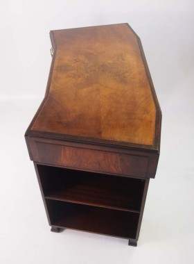 Small Art Deco Walnut Pedestal Desk