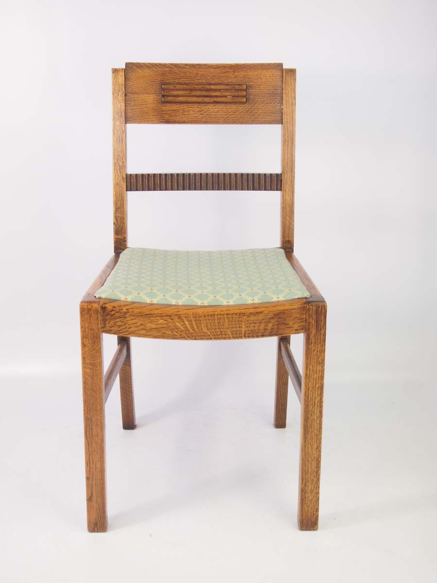 Set 4 Vintage Art Deco Oak Dining Chairs