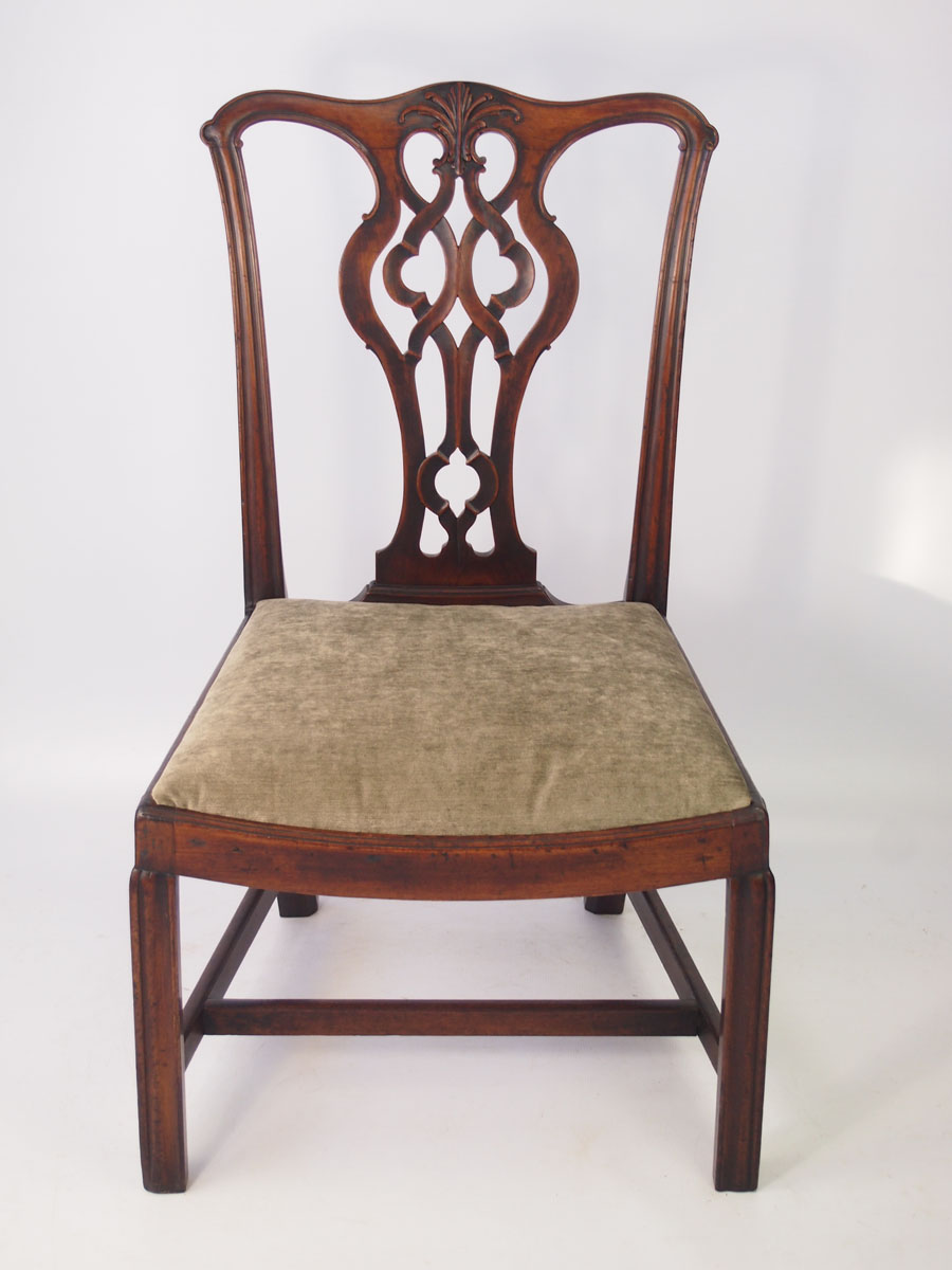 Antique Georgian Mahogany Chippendale Chair Stamped Quot Af Quot