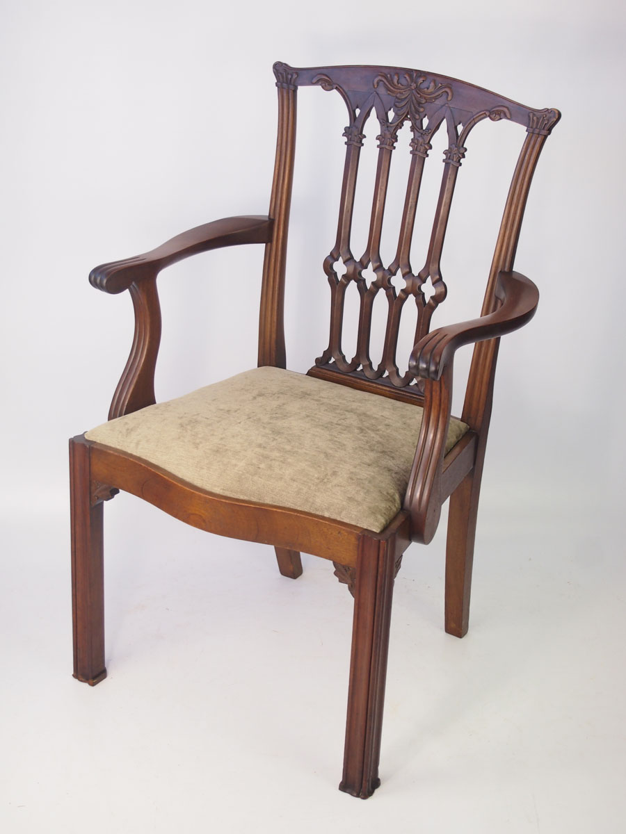 Antique edwardian mahogany chippendale desk chair for New england style desk