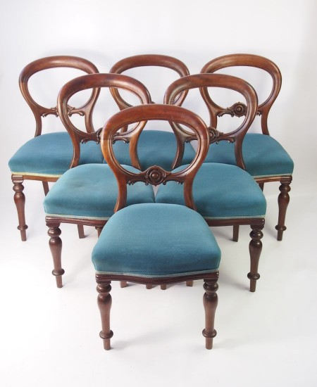 Set 6 Victorian Balloon Back Chairs