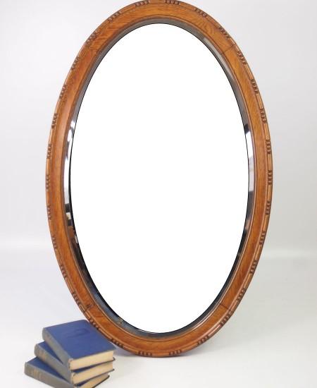 Large Oak Oval Mirror
